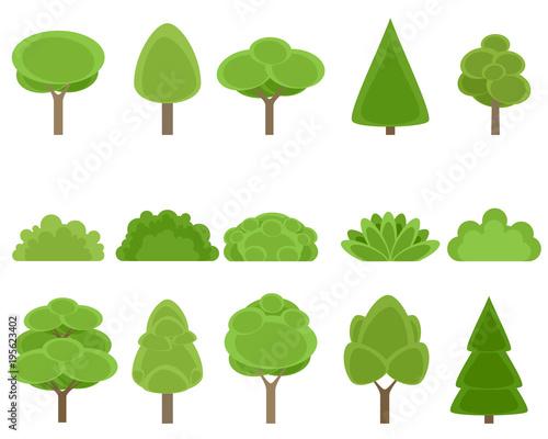 Set of trees and shrubs Fototapet