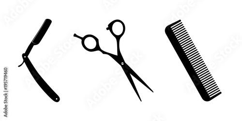 Wallpaper Mural Scissors, knife for shaving, comb on white