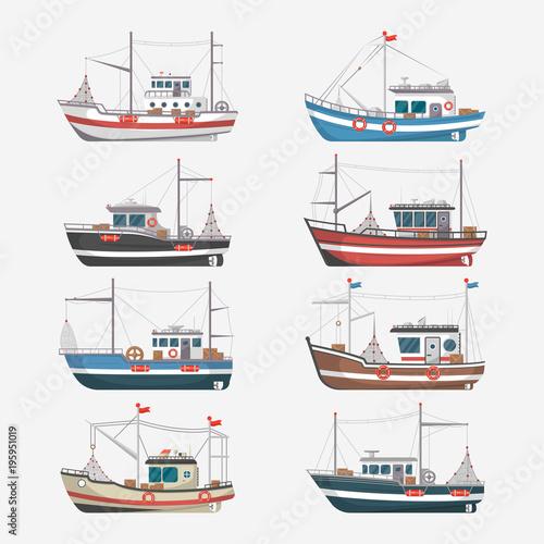 Obraz na płótnie Fishing boats side view isolated set