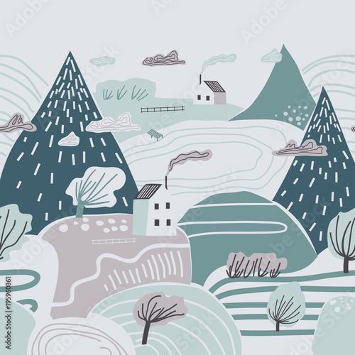 Dziecinny kolorowy wzór z górami, wzgórzami, dolinami i domami. Pochmurny zimowy krajobraz.