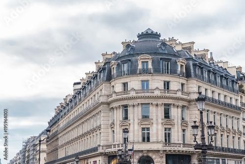 Paris, beautiful building in the center, typical parisian facade, place de l'Ope Fototapeta