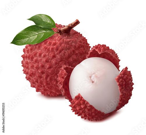 Whole lychee fruit isolated on white background