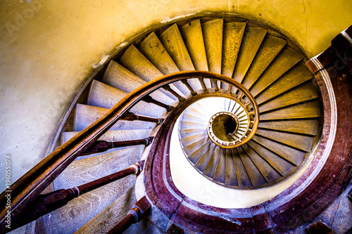 Stampa su Tela old spiral staircase