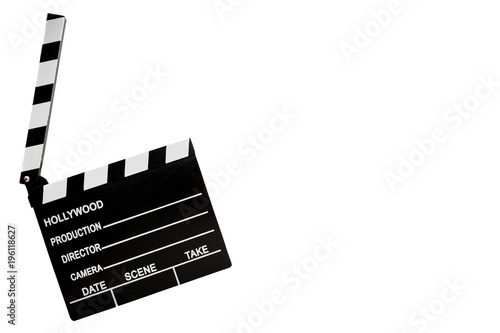 Fotografía Film industry and directing a movie concept with a clapboard isolated on white w