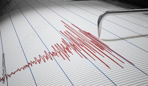 Slika na platnu Seismograph for earthquake detection or lie detector is drawing graph