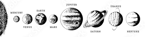Photo Solar system infographics in vector