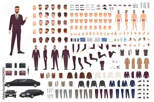 Obraz na plátně Elegant man dressed in business or smart suit creation set or DIY kit