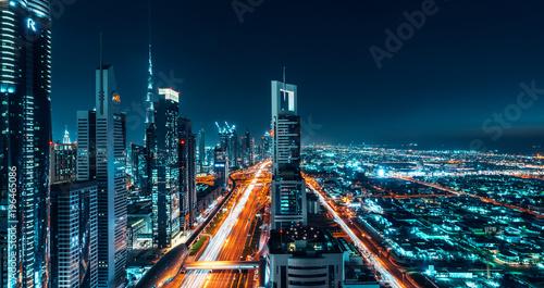Canvas Print Dubai Cityscape Night Long Exposure