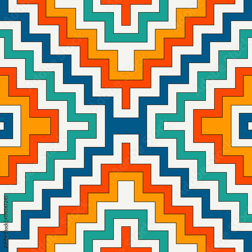 Canvas Print Ethnic seamless pattern with chevron lines