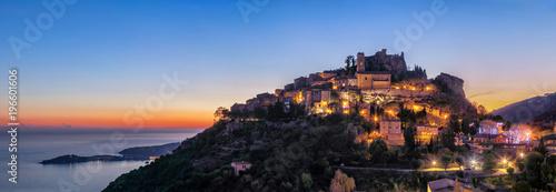 Tablou Canvas Panoramic view of medieval hilltop village Eze at dusk,  Alpes-Maritimes, France