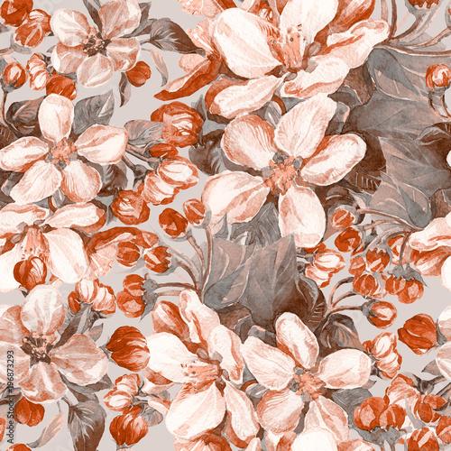 Fototapeta Akwarela bezszwowe wzór kwitnących gałęzi drz