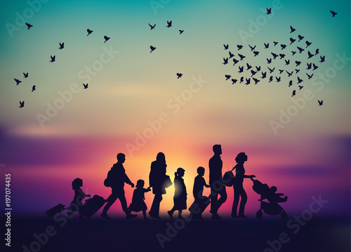 Canvas-taulu Emigration family sky and birds silhouette.