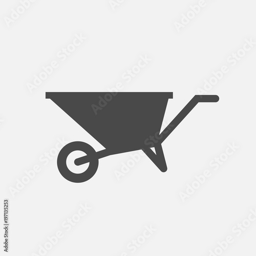 Photo wheelbarrow vector icon labor equipment