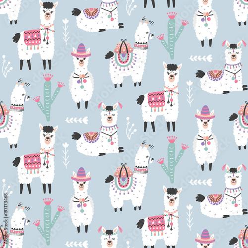 Canvas Print Cartoon Llama Alpaca Seamless Pattern