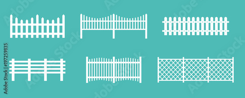 Tablou Canvas Vector illustration set of white rural wooden fences, silhouettes fence for garden and house concepts, flat cartoon style