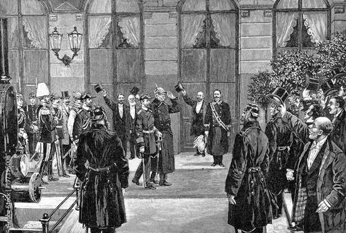 Tableau sur Toile Empfang  von Fürst Bismarck auf  dem Lehrter Bahnhof
