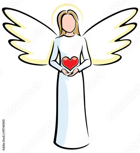 Stampa su Tela Angel Holding Heart