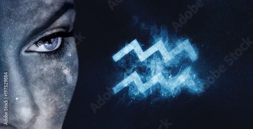 Aquarius Zodiac Sign. Astrology women night sky background