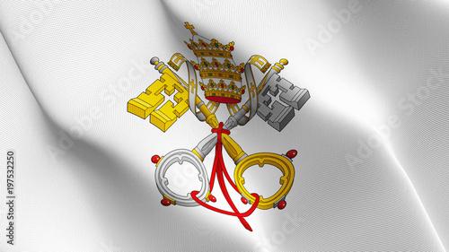 Fotografia, Obraz Emblem of Papacy flag waving loop
