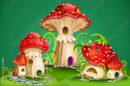 magic mushroom group. fairy houses red mushrooms with water mill, golden bell...