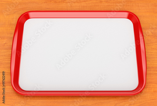Red plastic food tray with empty liner