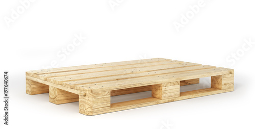 Stampa su Tela Stack of wood pallets isolated on a white. 3d illustration