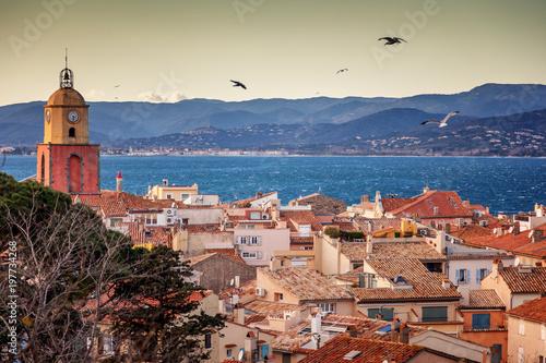 View of the city of Saint-Tropez, Provence, Cote d'Azur, a popular destination f Fototapeta