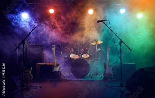 The drum set on the stage.