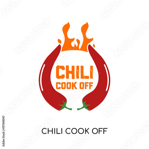 Fotografija chili cook off logo isolated on white background for your web, mobile and app de