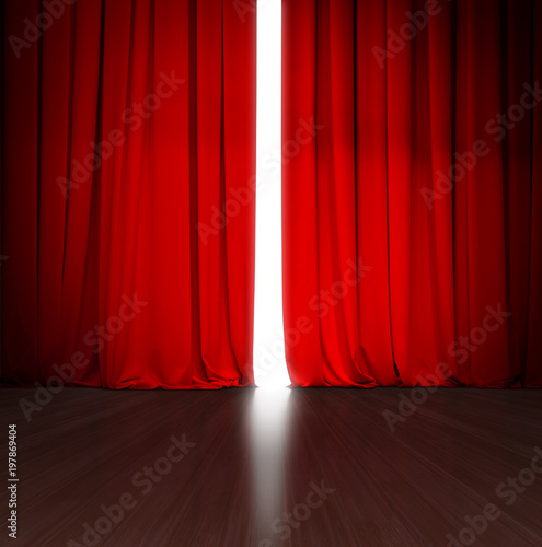 theater red curtain slightly open with bright light behind and wood stage or scene