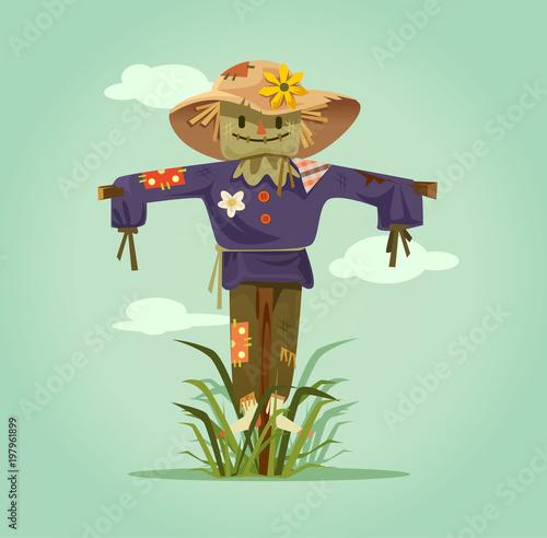 Happy smiling scarecrow character Fototapeta