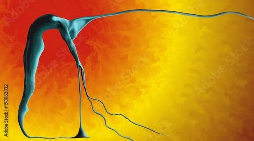 Une femme bleue coule comme de la peinture sur fond d'éruption solaire