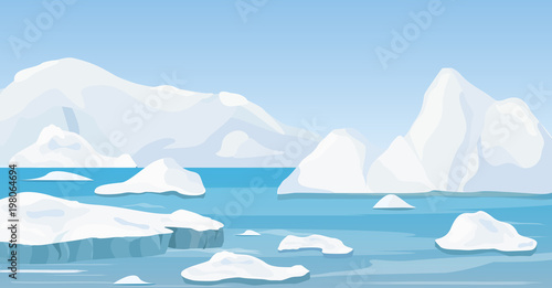 Valokuvatapetti Vector illustration of cartoon nature winter arctic landscape with iceberg, blue pure water and snow hills, mountains