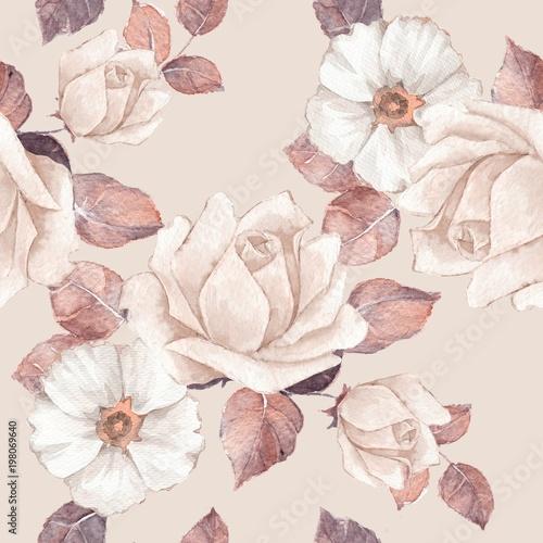 Fototapeta Delikatne kwiaty Akwarela kwiatowy wzór Pastelowe