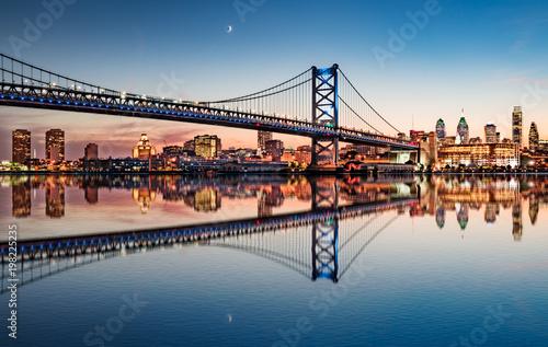 Obraz na plátně Philadelphia Night Skyline Refection