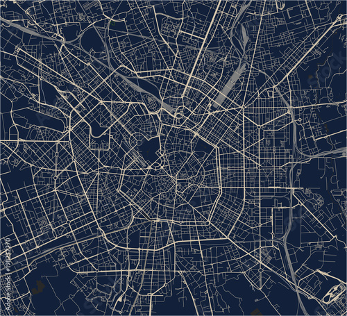 Canvas Print vector map of the city of Milan, capital of Lombardy, Italy