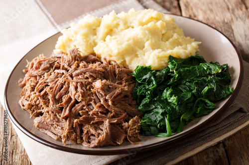 South African food: - Seswaa shredded beef with sadza porridge and spinach close-up on a plate. horizontal