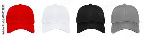 Fotografie, Obraz Blank baseball cap 4 color set on white background