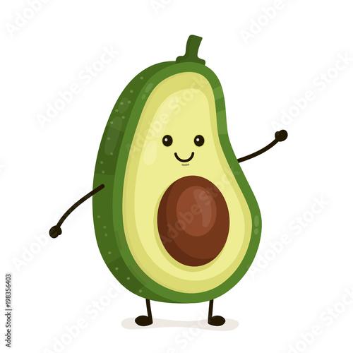 Obraz na plátne Funny happy cute happy smiling avocado