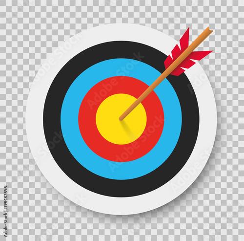Fotografija Target with arrow. Archery. Vector illustration.