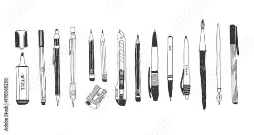 Foto Hand drawn stationery set