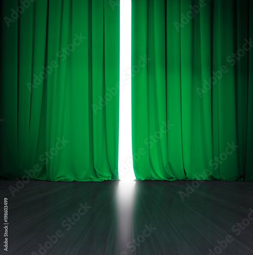 theater green curtain slightly open with bright light behind and wood stage or scene