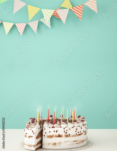 Birthday dinner on white table with birthday cake and other dessert,work space of happy birthday card ,3d illustration,3d rendering
