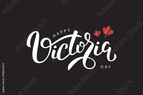 Fototapeta Vector isolated handwritten lettering for Victoria Day with origami maple leaves