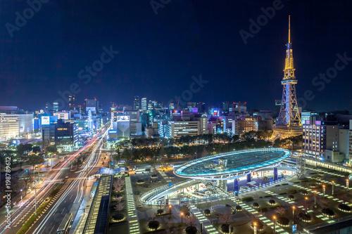 Fototapeta premium Nocny widok na Nagoya