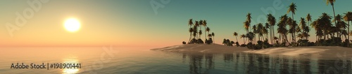 panorama of a tropical beach with palm trees, 3D rendering