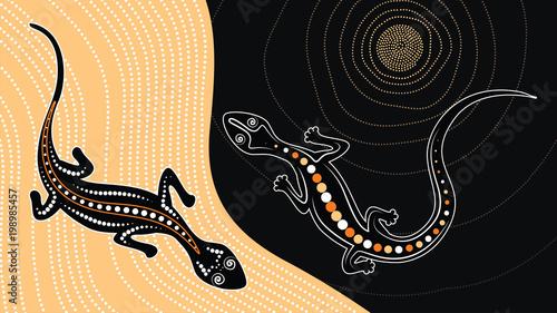 Fototapeta premium Wektor jaszczurka, tło sztuki Aborygenów z jaszczurką, ilustracja krajobrazowa oparta na aborygeńskim stylu malowania kropkowego.