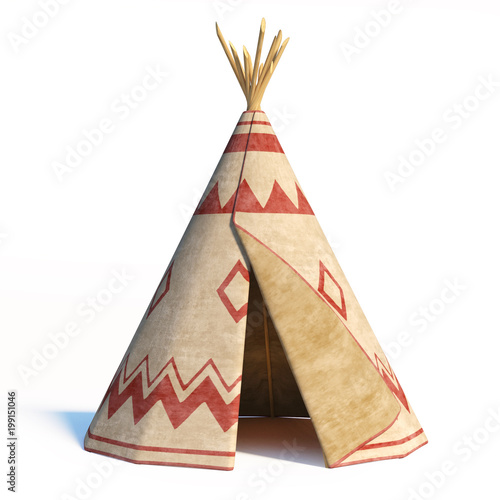 North America's indian tent, tepee isolated on white background, 3d rendering Fototapeta