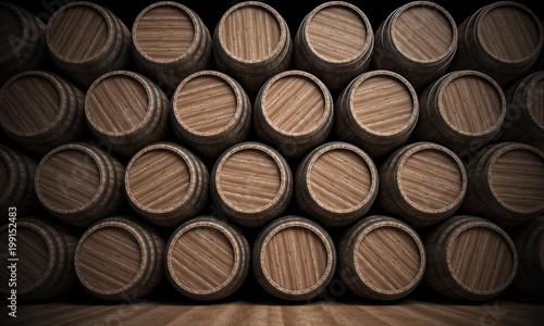 Fotografia Wooden barrels stacked full background, 3d rendering