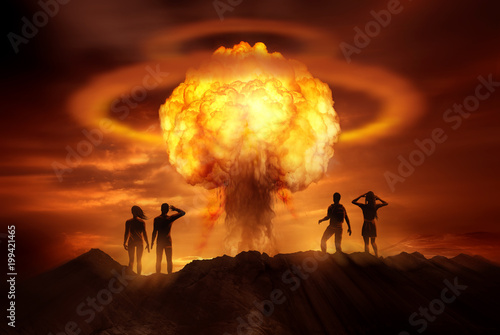 Wallpaper Mural People watching the end of the world as a nuclear bomb explodes in front of them